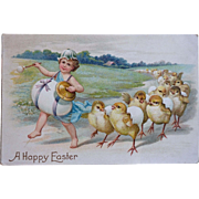 old Easter Postcard ~ Child leading a hatching-chick Parade