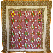 SALE 19th c. Quilt- Chintz, fab array of prints Unused