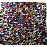 REDUCED Old silk Quilt - Tiny Triangles Turkey stitched