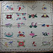REDUCED Vintage Sampler Quilt Applique, baskets, birds, bouquets