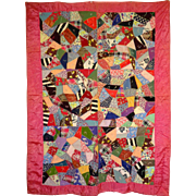 Crazy Quilt- old with Cherry Red Sash--Pretty