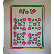 SALE Vint 30s Applique Quilt- Gorgeously Bright Sharon Roses FAB QLTG