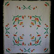 Old Applique Poppy Quilt --a kit quilt