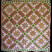 SALE 1800's Great Diamond Star Quilt tlc