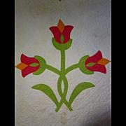 SALE Antique Applique Tulips Quilt  dated 1859 13spi