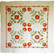 Antique Quilt 4-block Fabulous applique mid 19c