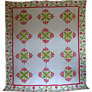 SALE Antique Mexican Rose Applique Quilt, oooh the quilting!!!
