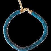 Beaded Choker- Stylish Teal/Turquois Bugle Bead serpent
