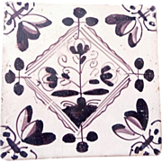 SALE Delft Tile- OLD - purple brown c. 1700s