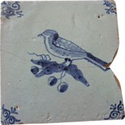 SALE Antique Delft Tile Bird and Grapes