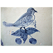 Antique Delft Tile Bird on Berry twig