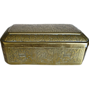 SALE OLD Chinese Brass Box Decorative Chasing