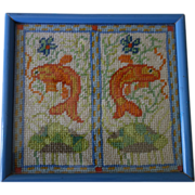 SALE Framed Fish Needlepoint of FISH  from a Chinese jar
