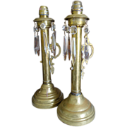 SALE Victorian Pair Spring Loaded Candlesticks Etched Glass & Prisms