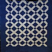 SALE Quilt ~ Indigo & White Lattice- mid-sized quilt