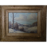 REDUCED Snow Scene Oil Painting in the Country- signed