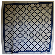 SALE Quilt TOP ~ Indigo & White, Irish Chain.