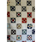 SALE Quilt TOP ~Old unused handpieced Bear Paw Family