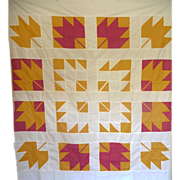 Quilt TOP ~ Maple Leaves Cheddar & T-Red ~ Folk Art