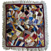 SALE Crazy Quilt -Crib c 1870 Miniature Crazy Quilt
