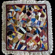 SALE Crazy Quilt -Crib c 1870 Miniature Crazy Quilt