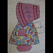 SALE Sun Bonnet Sue Vintage Charm Quilt-all different feed sack Sues