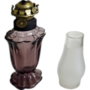 REDUCED Miniature Oil Lamp - Amethyst glass