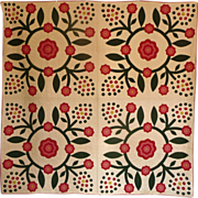 SALE Mint Applique Quilt - 1800's - 12spi berries EXPERTLY MADE