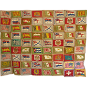 SALE Cigar Flag Quilt Top 1915..nice collection of 72 flags