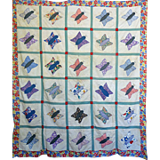 REDUCED Quilt TOP ~ Mid-west Feed Sack Applique Butterfly --great print border