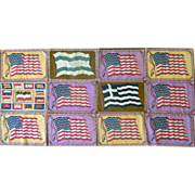 "SALE 12-flag Lg Cigar Felts Quilt Top- 15""x10"" ~ 9 Old Glory ~MINT"