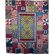 SOLD 19th c. QUILT SAMPLER - MEDALLION unused/unwashed/bright and beautiful,