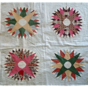 SOLD Mariner's Compass 4-block Quilt TOP c. 1850