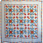SALE 19th c. Applique Quilt -Cheddar, red, teal green ~2 frames of sawtooth borders