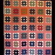 SALE Quilt~ Monkey Wrench / Churn Dash c.. 1900