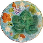 Wedgwood Majolica Plate, Strawberries, grapes, blossoms Gorgeous colors