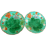 "Wedgwood Pair 1860's Majolica Leaf and Berry 8-3/4"" plates"