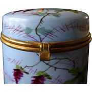 SALE Porcelain hand-painted box- Butterfly flowers, c. 1860 French