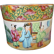SALE Chinese Famille Rose~ Rose Canton Antique  round Box with Lid