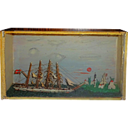 SALE Antique Ship Diorama with lighthouse- c1900~FOLK ART