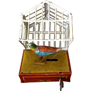 SALE German Tin Wind-up Penny Bird In Cage c. 1900