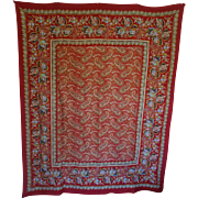 SOLD Stunning Vintage Paisley Coverlet - Large, Gorgeous Cotton Colors!!