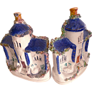 SALE O L D  Staffordshire Pair of Tower Houses & Swans