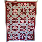"SALE Antique Red and White Detailed Great Quilt 66""x81"""