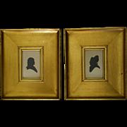 REDUCED Silhouette Pair in Shadow box Gilt Frames