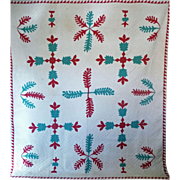 SALE Antique Applique Quilt - Red, Jade green on off-white ZigZag border 1800's