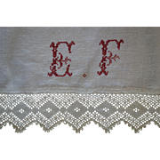SALE Hand-woven Linen Runner w/pretty initials crocheted lace