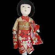"SALE Japanese Ichimatsu Doll in Kimono c.1940s ""Midori"" 10.5"""