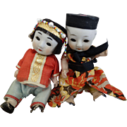 Chinese Dolls- Brother & Sister in party attire  c. 1940
