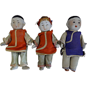 SALE 3 Chinese Miniature Dolls- Triplets-  3-1/2-inches